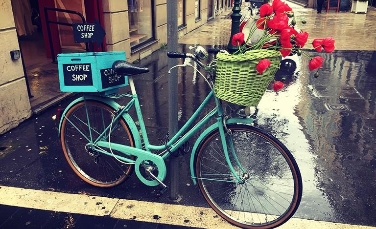 Fargerik sykkel med blomster.