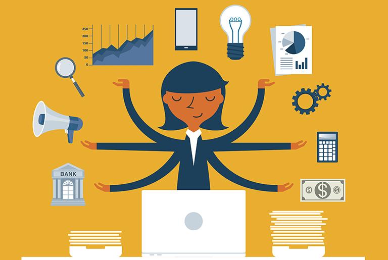 Animert forretningskvinne som multitasker.