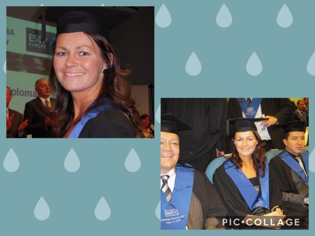 Yvonne med studievenner - i gradueringsklær.